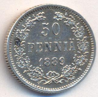 Монета 50 пенни 1889 года для Финляндии (Александра III, буквы L) - реверс