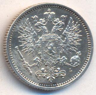 Монета 50 пенни 1889 года для Финляндии (Александра III, буквы L) - аверс