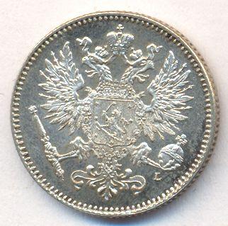 Монета 50 пенни 1908 года для Финляндии (Николая II, буквы L) - аверс