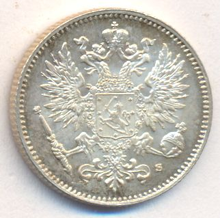 Монета 50 пенни 1914 года для Финляндии (Николая II, буквы S) - аверс