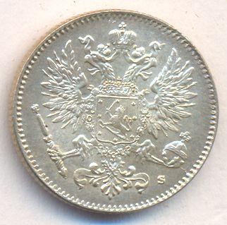 Монета 50 пенни 1915 года для Финляндии (Николая II, буквы S) - аверс