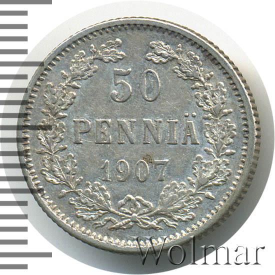 Монета 50 пенни 1907 года для Финляндии (Николая II, буквы L) - реверс