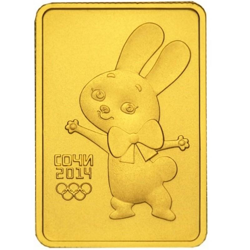 Золотая инвестиционная монета Сочи - Зайка
