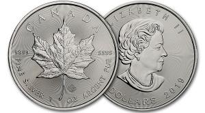 """В декабре 2018 г. Монетный двор Канады выпустил серебряную монету """"Кленовый лист"""". Данная монета имеет наивысшую чистоту драгметалла 999,9, а вес составил 1 тройскую унцию (31,1 грамм). На реверсе (оборотная сторона) серебряной монеты можно увидеть традиционный лист клёна, который является символом Канады, а на аверсе (лицевая сторона) представлено классическое изображение королевы Великобритании Елизаветы Второй.  Канадские монеты """"Кленовый лист"""" считаются самыми защищёнными благодаря нанесённым на них признакам защиты. Например, гравировка кленового листа с годом выпуска, а также радиальные линии на обеих сторонах монеты.  История монеты Серебряная монета """"Кленовый лист"""" чеканится в Канаде с 1988 г. качеством """"бриллиант анциркулейтед"""". Она считается одной из самых популярных инвестиционных монет в мире и имеет стандартный вес в 1 унцию. По особому поводу выпускаются также следующие виды: 1/10 унц., 1/4 унц., 1/2 унц., 10 унц. и 1 кг.  С самого начала своего появления на рынке драгметаллов эта монета стала пользоваться большой популярностью среди инвесторов благодаря чистоте драгметалла 999,9 (четыре девятки). Но сейчас можно встретить и другие серебряные монеты с такой чистотой, которые также выпускаются на монетном дворе Канады, например, серия монет """"Дикая природа"""". Подробнее: http://gold.ru/news/serebryanaya-moneta-kanady-klenovyj-list-2019.html"""